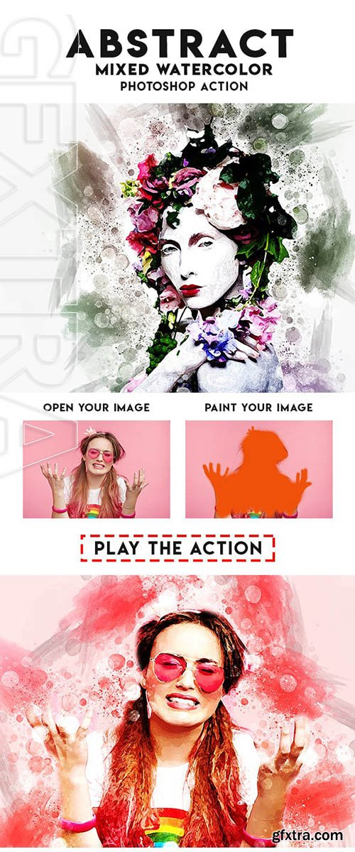 GraphicRiver - Abstract Mixed Watercolor Photoshop Action 23620684
