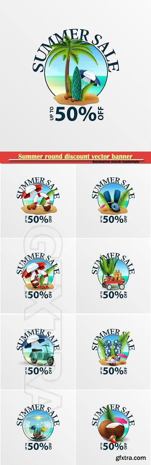 Summer round discount vector banner