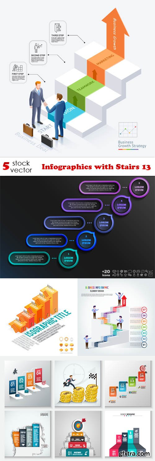 Vectors - Infographics with Stairs 13