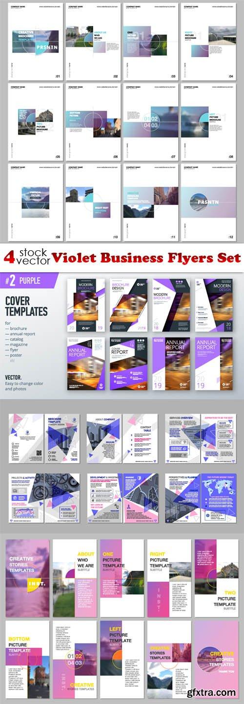 Vectors - Violet Business Flyers Set