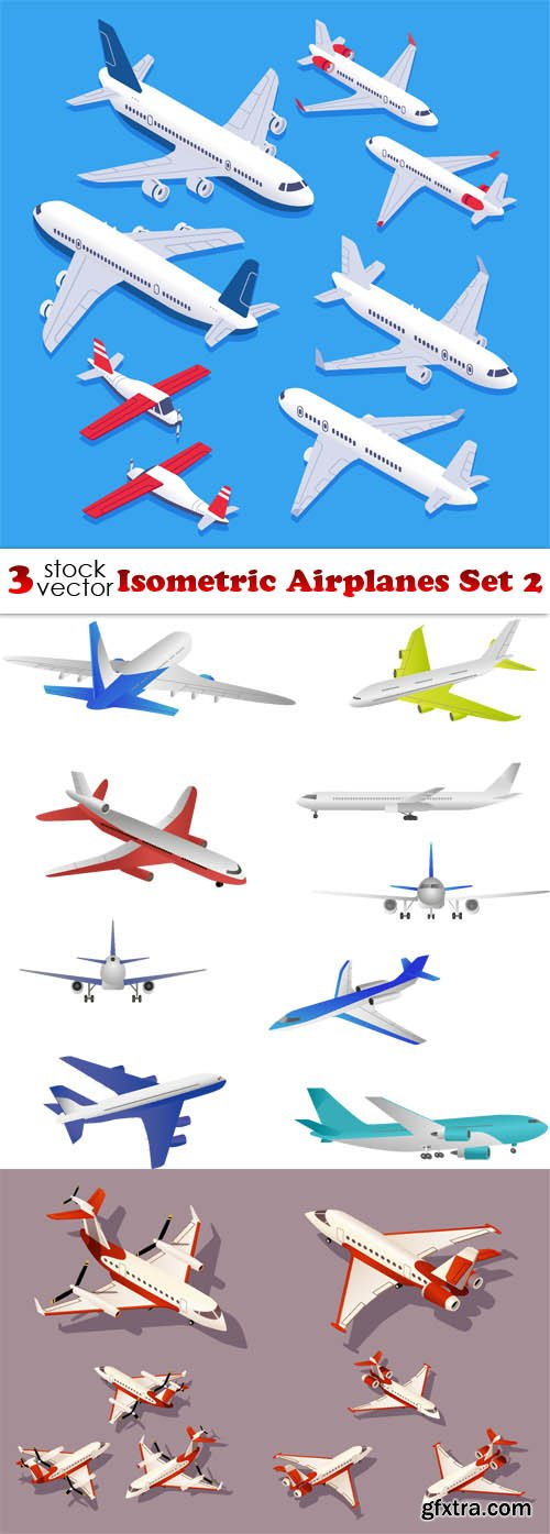 Vectors - Isometric Airplanes Set 2