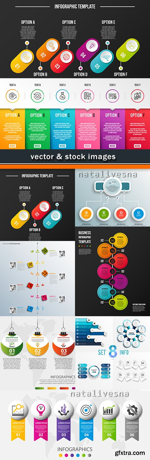 Business infographics options elements collection 50