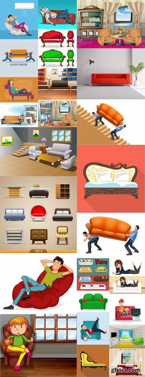 Sofa bed chair vector image 25 EPS