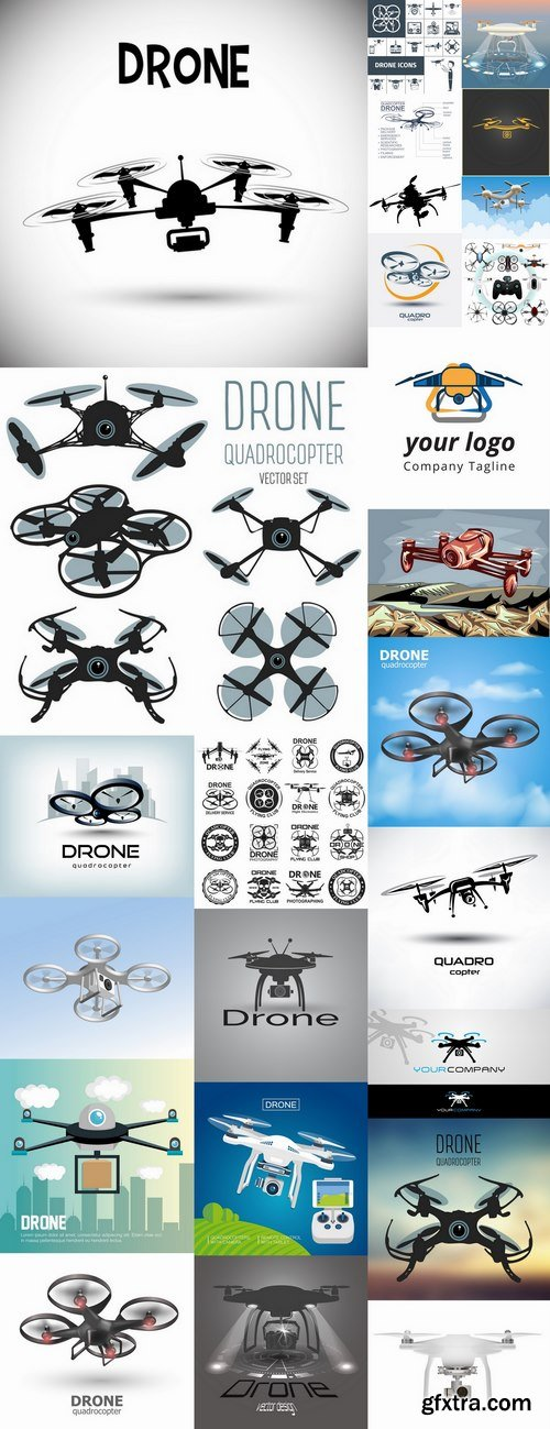 Drone copter technology robotics nanotechnology vector image 25 EPS