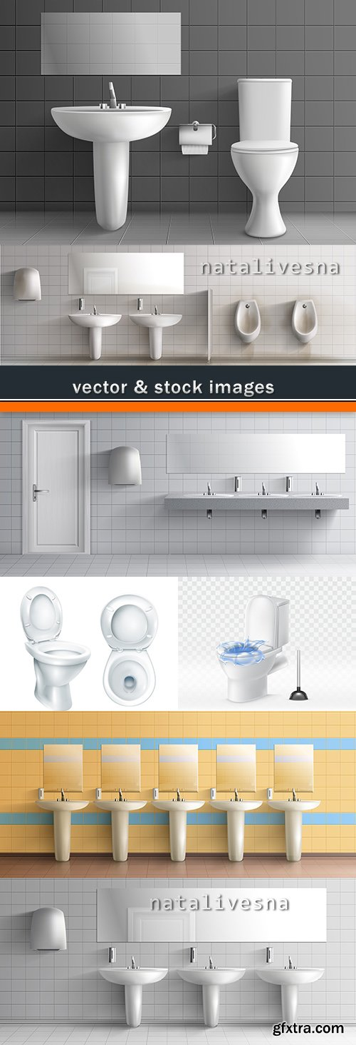 Public toilet 3D washes interior room illustrations