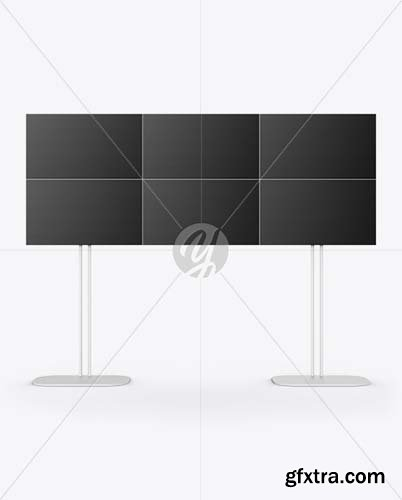 Dual Screen Stand Mockup - Front View