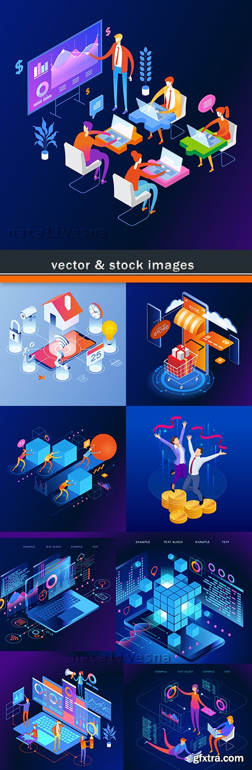 Business technology isometric illustration management concept