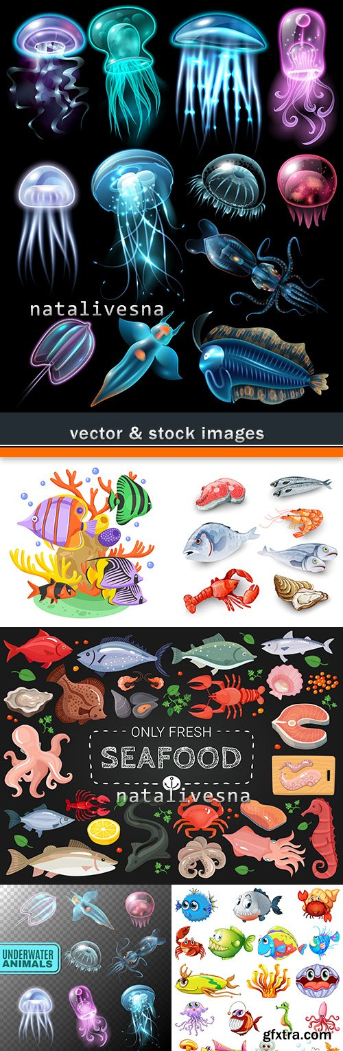 Sea small fishes set cartoon of illustrations
