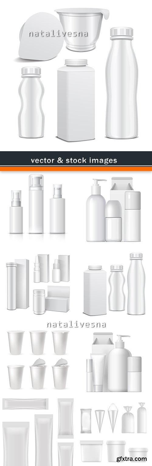 Plastic container and bottles 3D illustration template model
