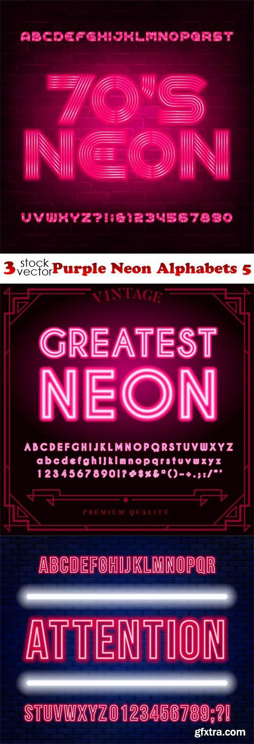 Vectors - Purple Neon Alphabets 5