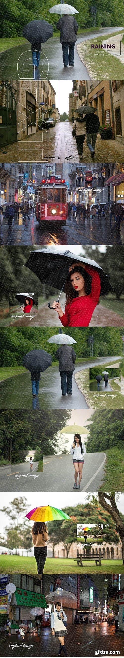 CreativeMarket - Raining Photoshop Action 3633384