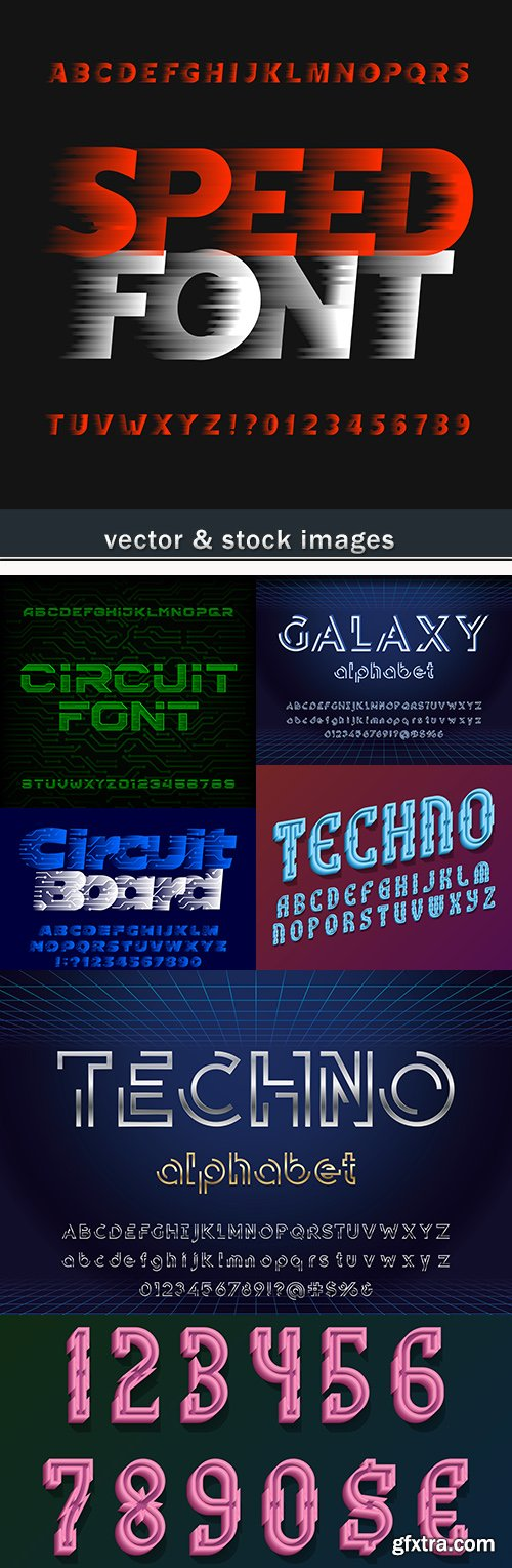 Abstract techno font and figures for creative design