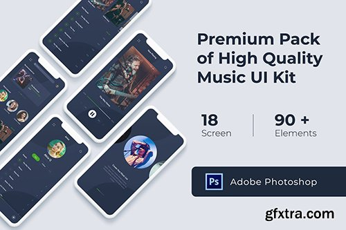 Music Audio Play App UI KIT for Photoshop, Adobe XD and