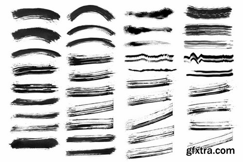 45 Ink Strokes PNG Shapes