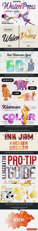 CreativeMarket - WaterPress Vector Watercolor Effects 3673683