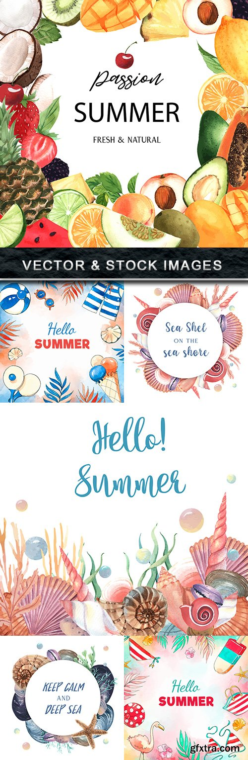 Summer background watercolor fruit and seashells
