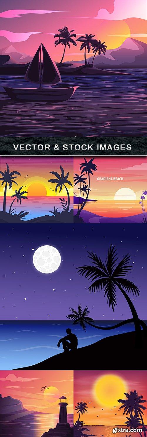 Summer sunset on the seashore vector landscape