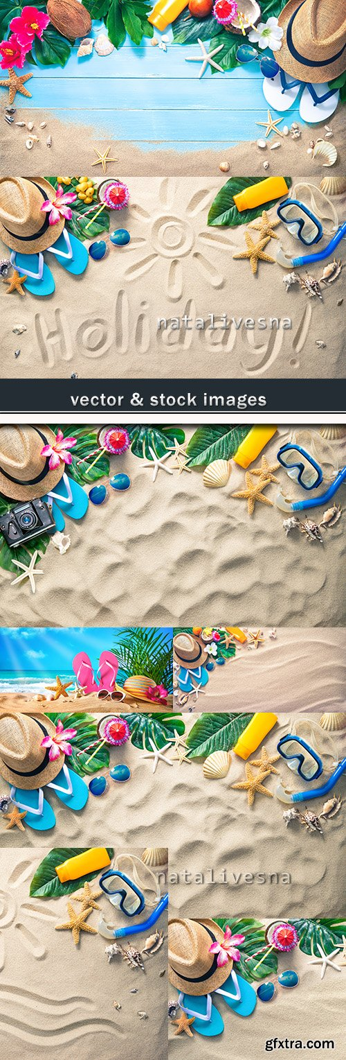 Summer sandy tropical beach and rest accessories