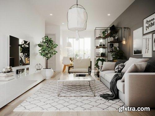 Cgtrader - Scandinavian Small House Design 3D model