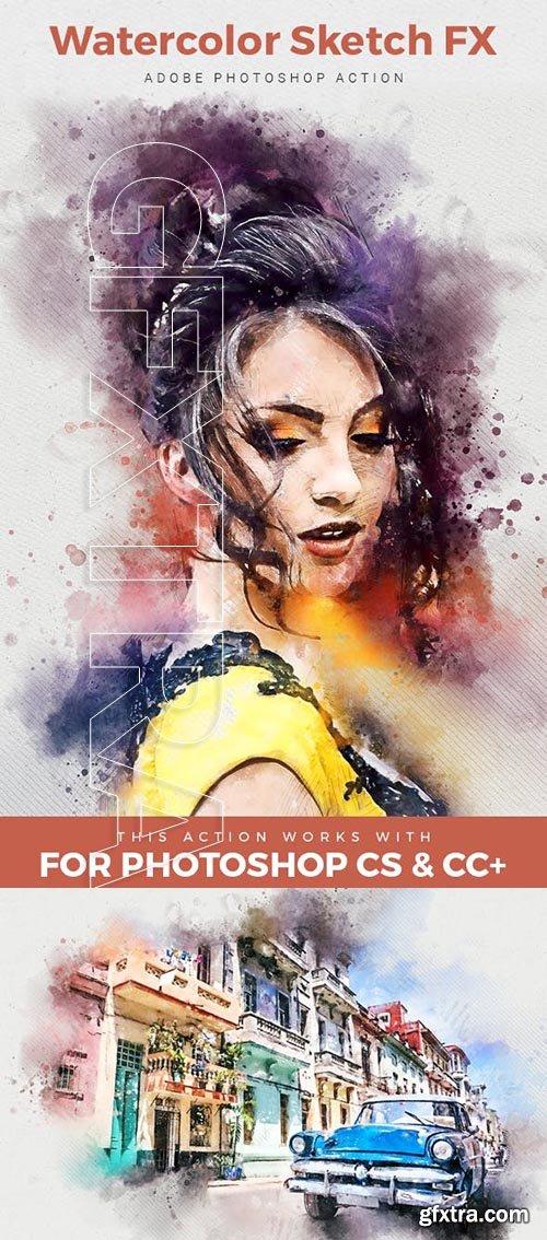 GraphicRiver - Watercolor Sketch FX - Photoshop Action 23729628