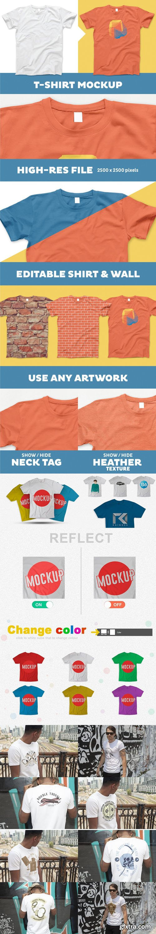 Colorful T-Shirt Ai/PSD Mockups Colection