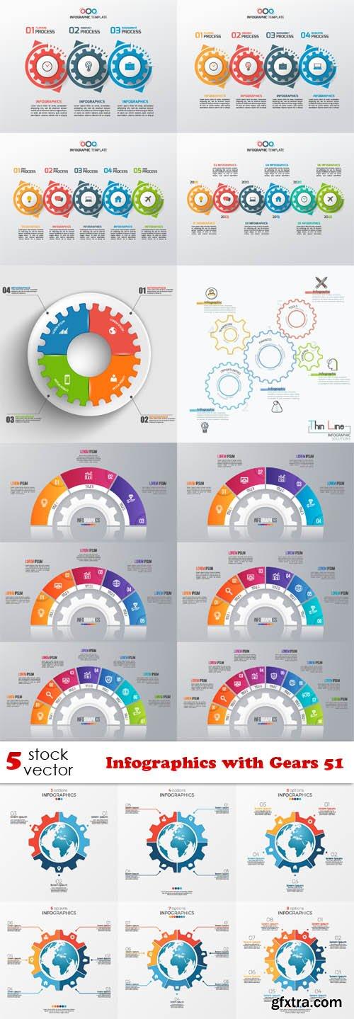 Vectors - Infographics with Gears 51