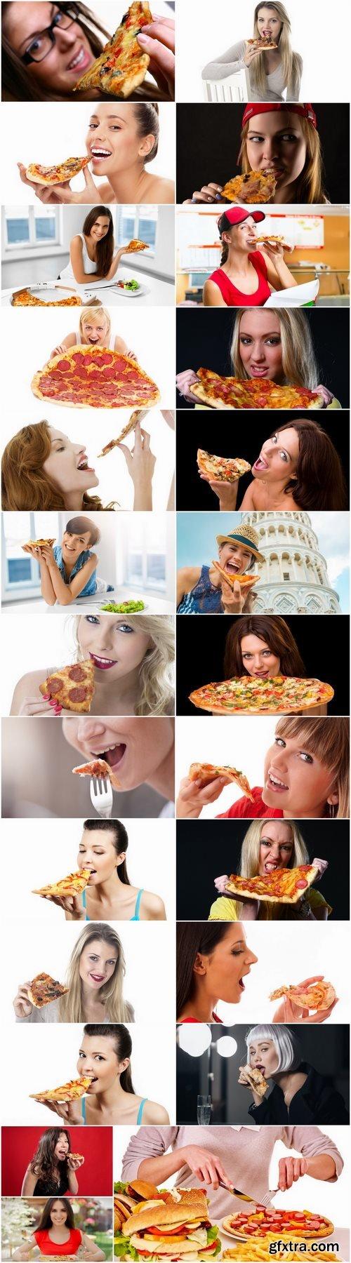Woman girl eating pizza 25 HQ Jpeg