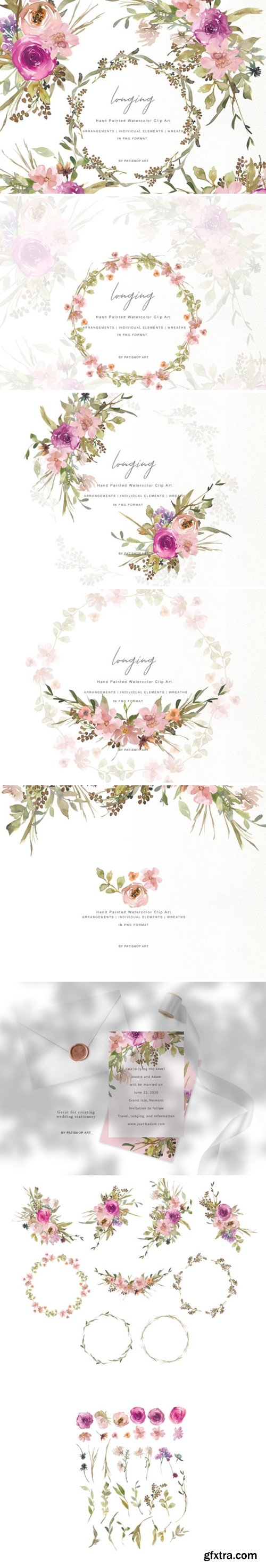 Watercolor Dusty Pink and Purple Flowers 1348614