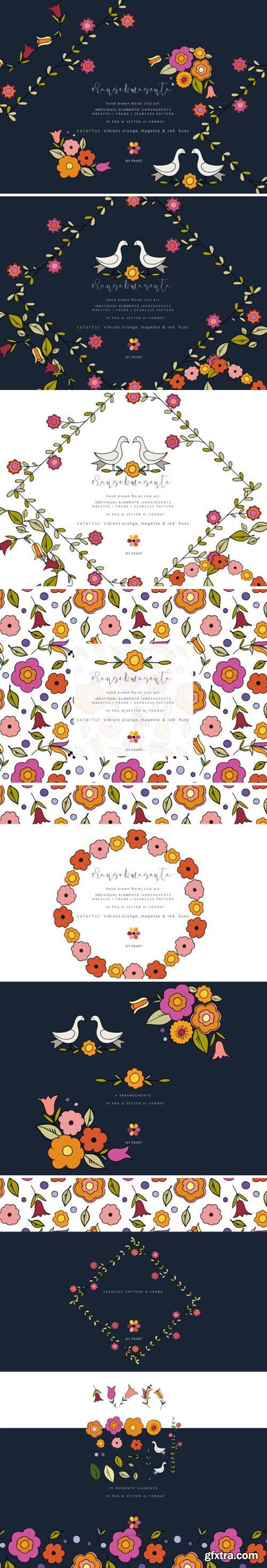 Hand-Draw Flowers Clipart 1348609