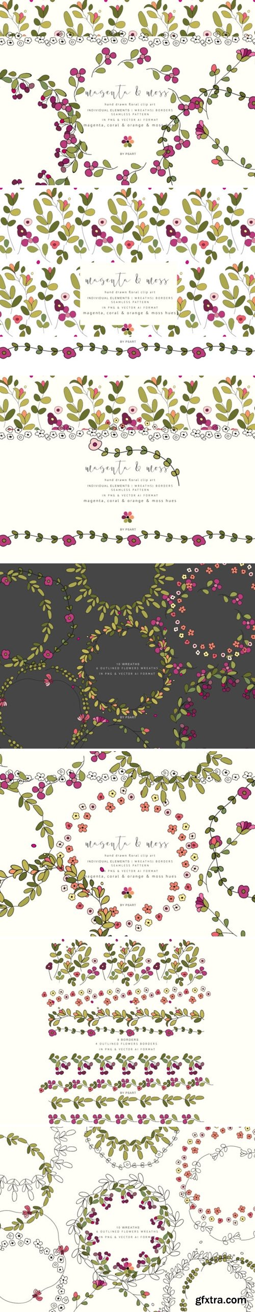 Colorful Hand-Draw Flowers Clipart 1348608