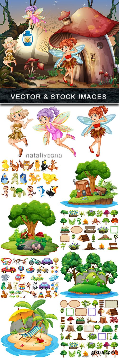 Fantastic trees animal and toys illustration for children