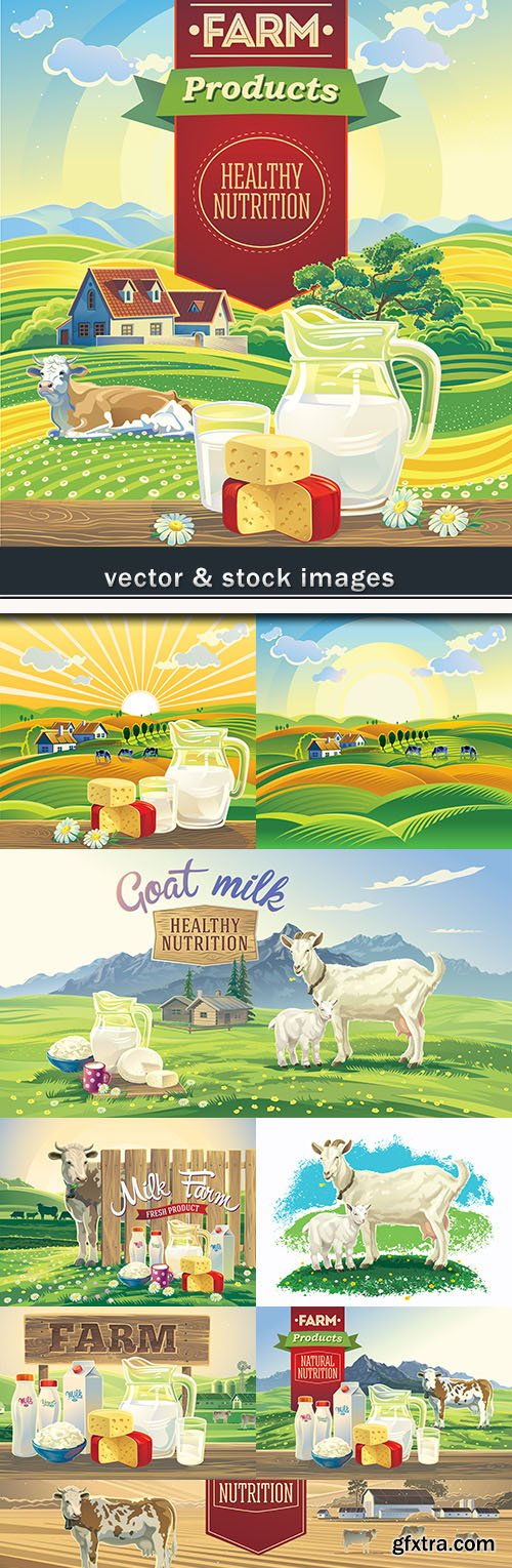 Farm useful milk of goat and cow summer landscape