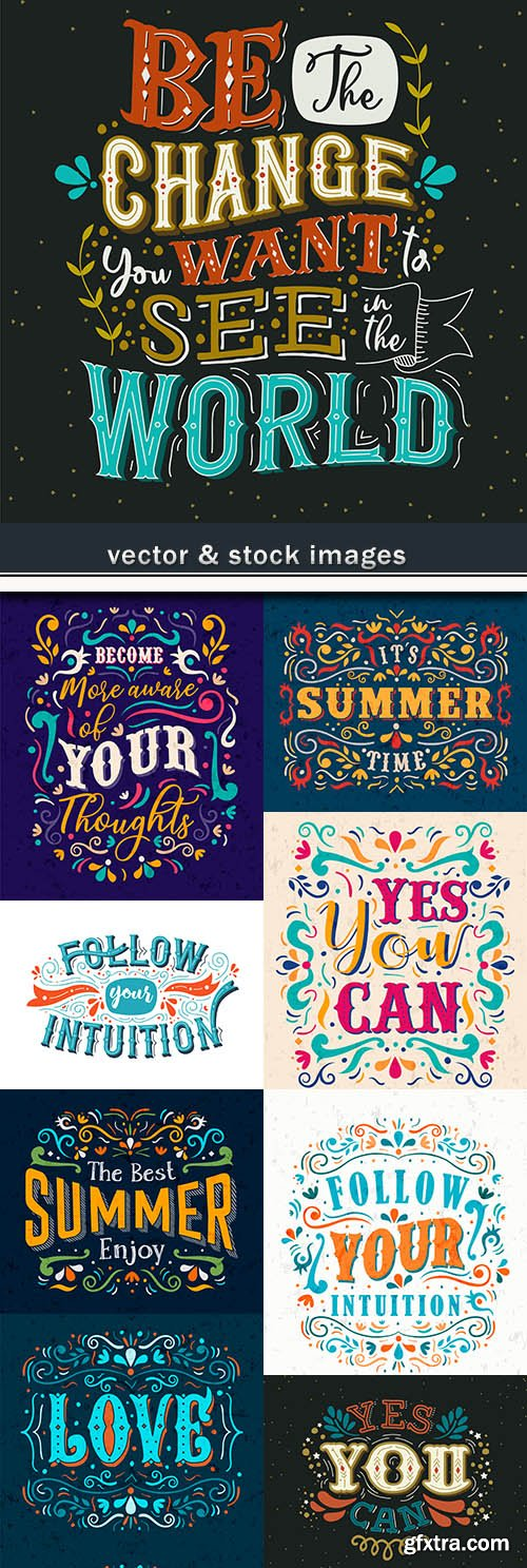 Decorative calligraphical inscriptions for design of poster