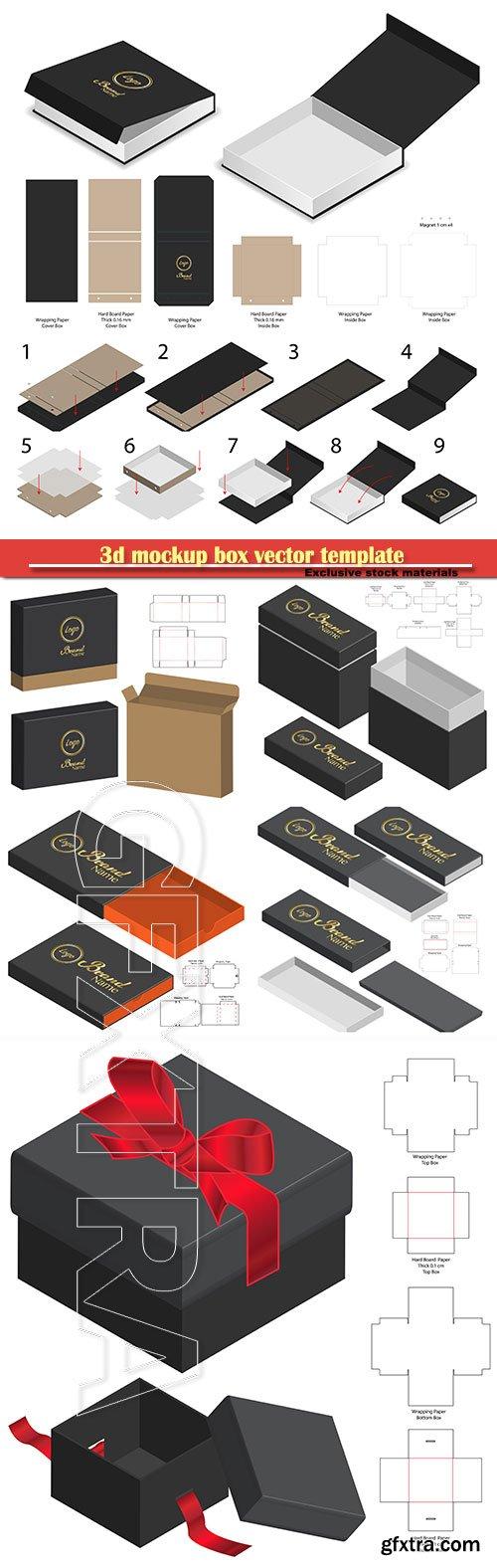 3d mockup box vector template
