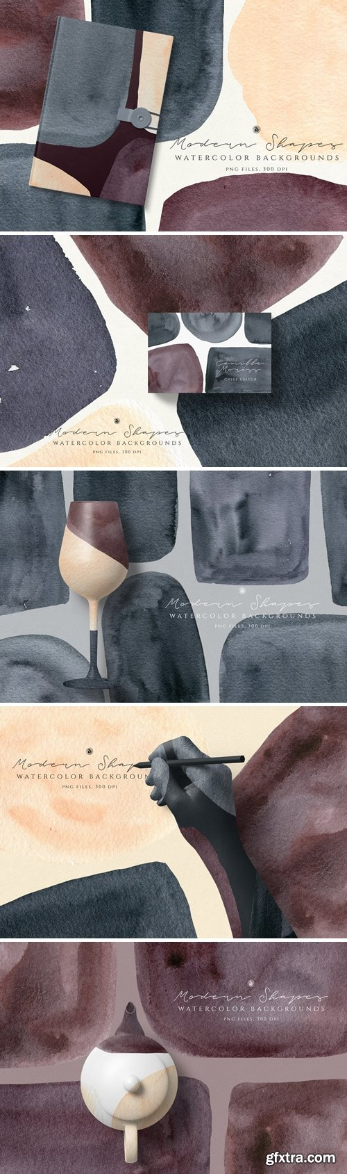 CM - Watercolor Backgrounds Modern Shapes 3774404