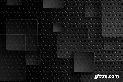 Black tech perforated abstract background