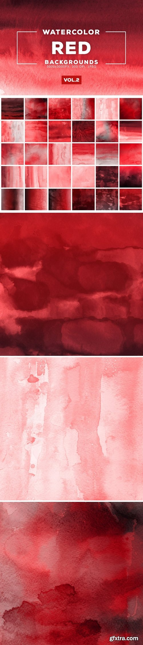 Watercolor Red Backgrounds Vol.2