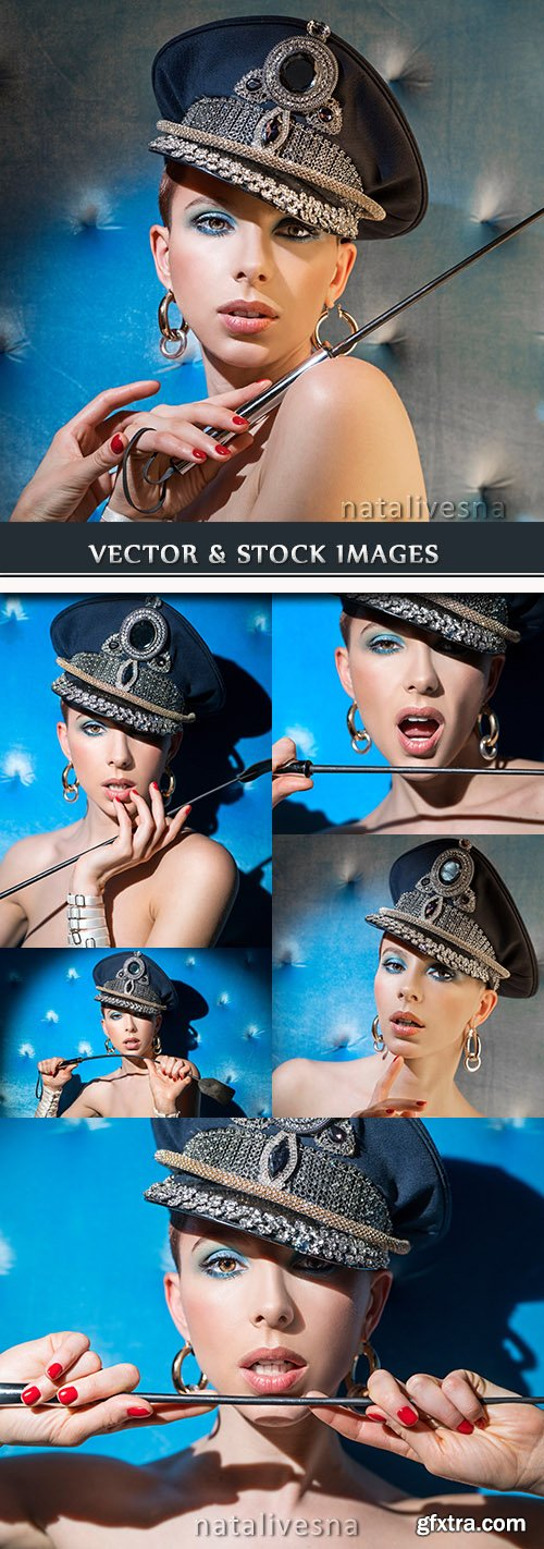 Young girl make-up military peak-cap and sexual lash
