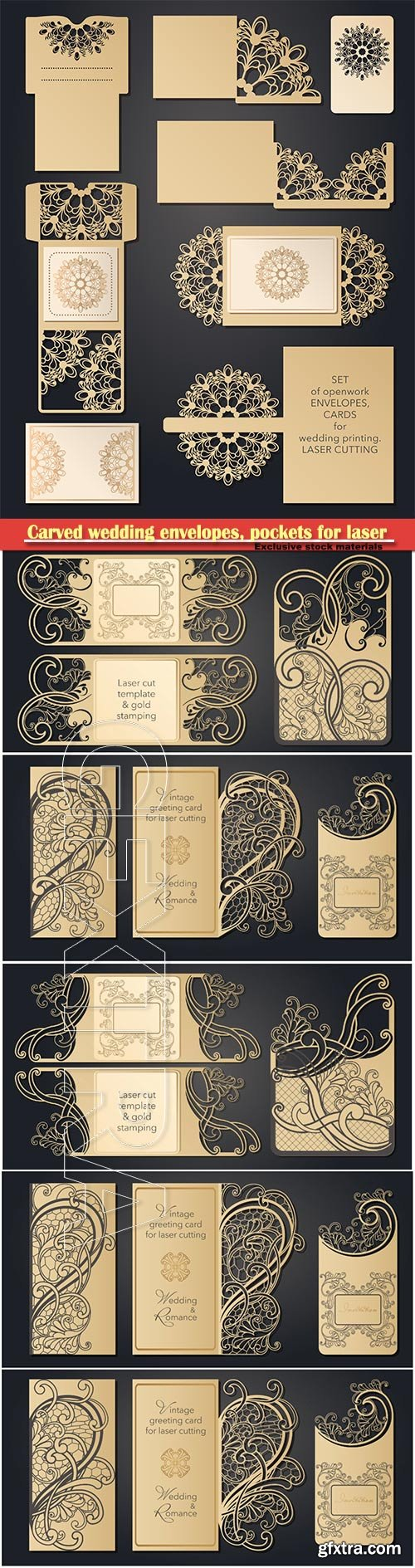 Carved wedding envelopes, pockets for laser cutting, invitations, wedding cards, party, romantic date