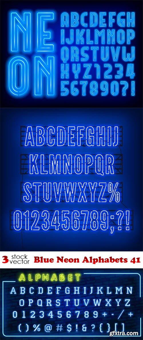 Vectors - Blue Neon Alphabets 41