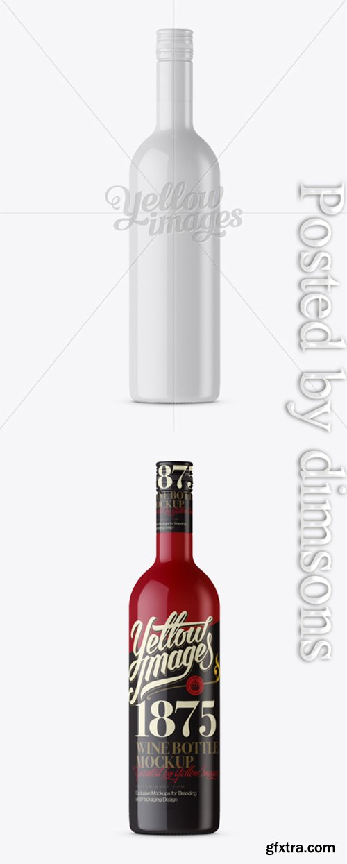 Wine Bottle HQ Mockup - Front View 12200
