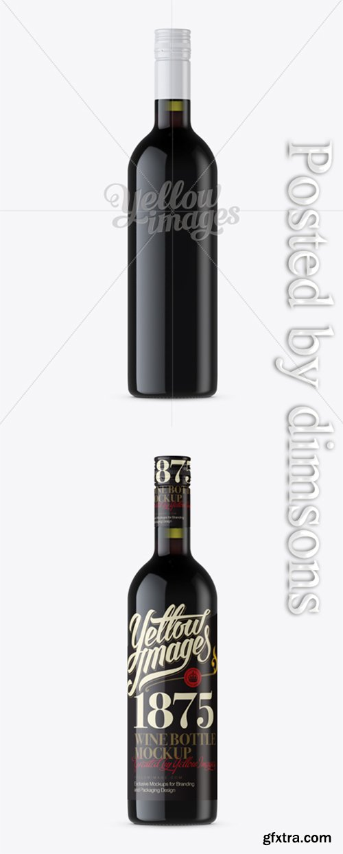 Antique Green Bottle with Red Wine Mockup - Front View 12199
