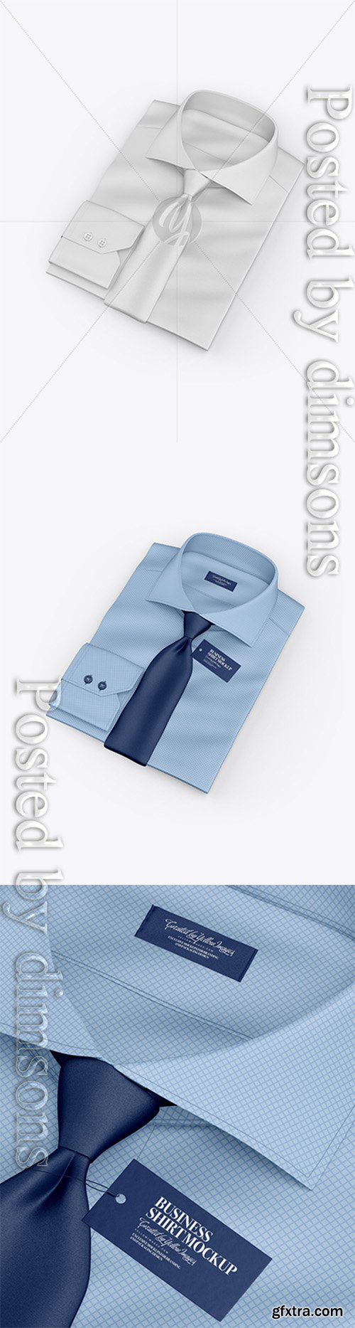 Folded Shirt With Tie Mockup - Half Side View (High-Angle Shot) 25072