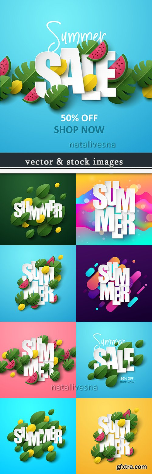 Summer sales and decorative leaves background