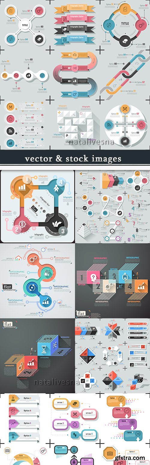 Business infographics options elements collection 56