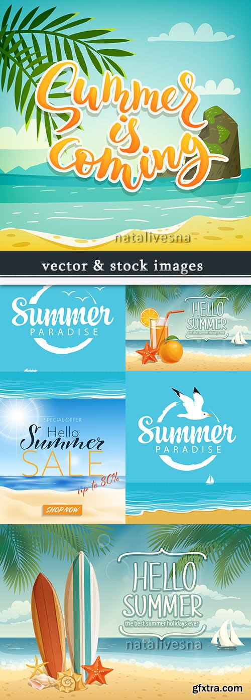 Summer tropical beach design of illustration