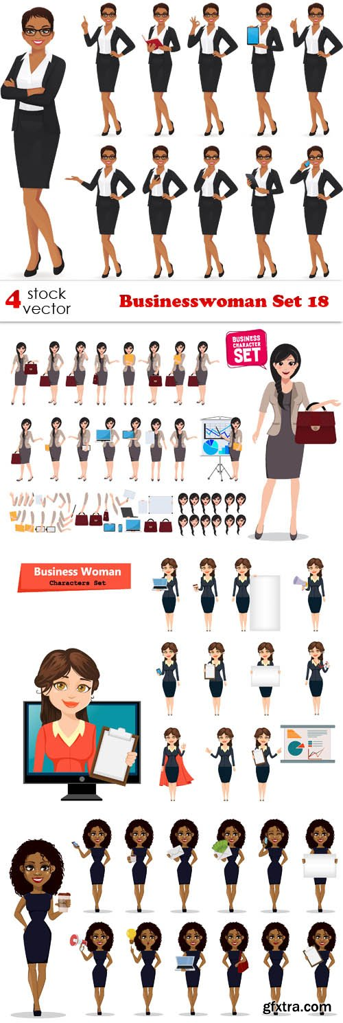 Vectors - Businesswoman Set 18