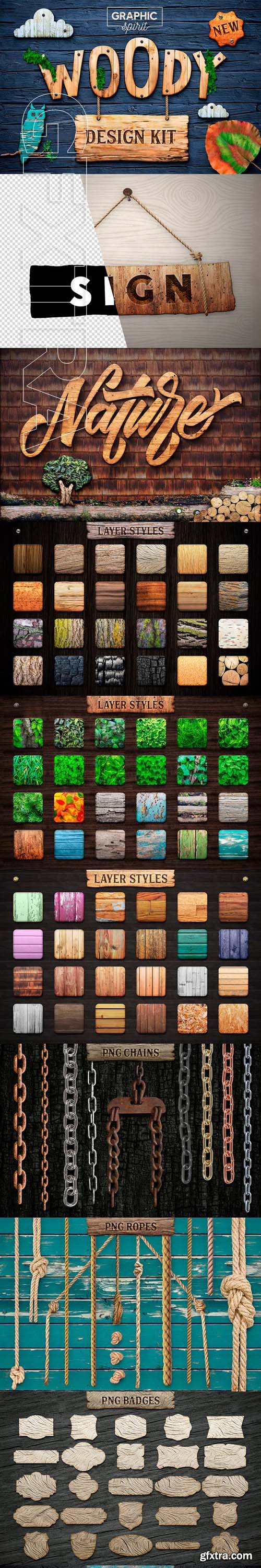 GraphicRiver - WOODY Texture Photoshop Styles KIT FULL 23551039