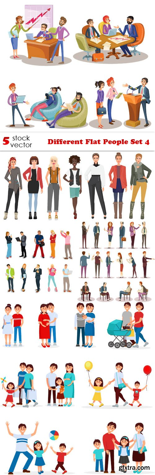 Vectors - Different Flat People Set 4