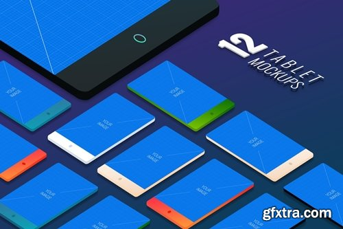 12 Tablet PSD Mockups 02 - Ground Styles